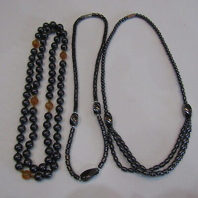 HEMATITE Necklace LOT Therapeutic  100% Magnetic Root Chakra Therapy Statement