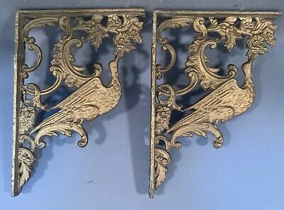Pair (2) Antique CAST IRON Old VICTORIAN CORBEL Type BIRD & FLOWER Shelf BRACKET