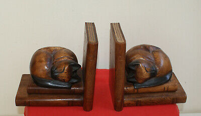 Carved Wood Cat Bookends Vintage Home Décor