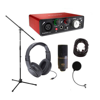 Focusrite Scarlett Solo 2nd Gen w/MXL 770, Headphones, Mic Stand,Pop Filter, XLR