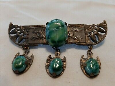 Antique Vintage Egyptian Revival Winged Scarab Pin/Brooch w 3 Drop Scarabs
