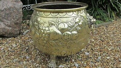 antique brass coal bucket planter large size