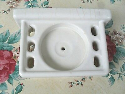 Antique White Porcelain Toothbrush Holder CUP HOLDER Wall Mount*DRAIN HOLE