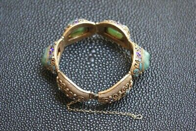 Antique Chinese Export Silver Filigree Enamel Jade Bracelet
