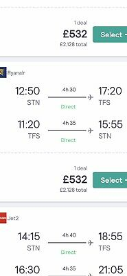 Flights  available December 26th 2019- 5th January 2020.Tenerife Return Stansted