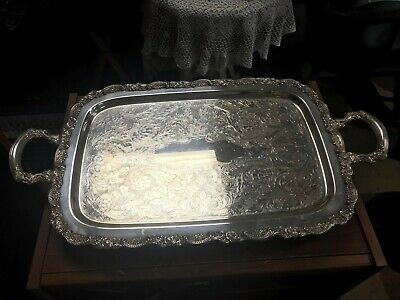 Vintage Oneida USA Silverplate Large  Footed Serving Tray