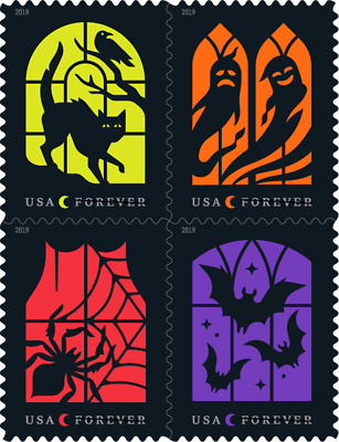 USA Sc. NEW (55c) Spooky Silhouettes 2019 MNH plate block