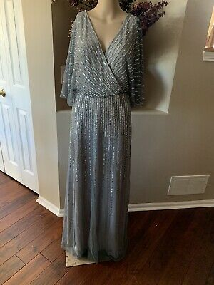 $279 NWT Adrianna Papell Sequin Kimono Flutter Sleeve Gown Silver Women Size 6