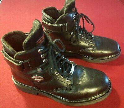 """Harley Davidson Motorcycle Boots 6"""" Black Leather Lace Up 91017 Men Size 11"""