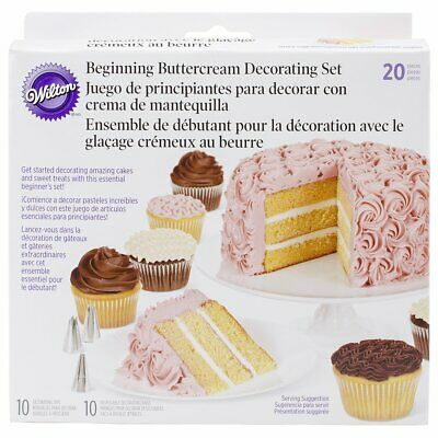 Wilton 20 Pieces Beginning Buttercream Cake Decoration Tips Bags Party Pack Set