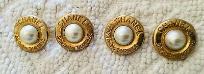 "4 Gold and Pearl Vintage ""CHANEL"" Large Buttons"