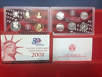 2001-S Complete SILVER Proof Set w Box and COA