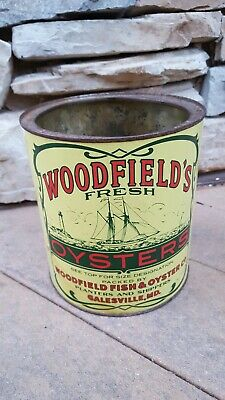☆ Vintage ☆ Woodfield's Oyster Tin/ Can ☆ 1 Gallon ☆ Galesville Md ☆