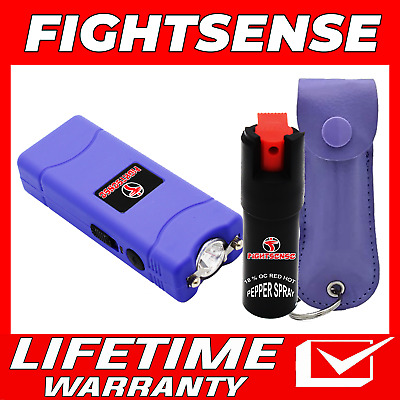 Mini Stun Gun and Pepper Spray Combo for Self Defense -Extremely Powerful Purple