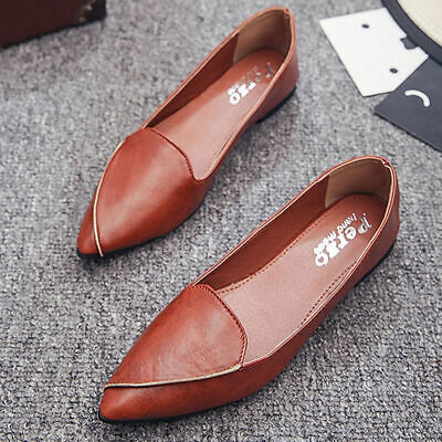 WOMEN'S Flat Ballet Pointed Toe PU Leather Loafer Work Comfy Slip ON Drive Shoes