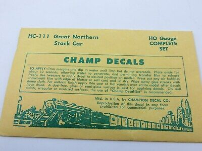 Champ decals HO HD-1 Box car data 40 ton 36 and 40/' cars  ZZ155