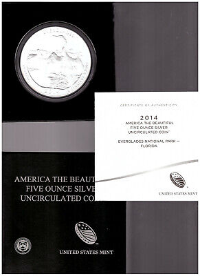 US MINT 2014 America The Beautiful EVERGLADES NATIONAL PARK UNC 5oz SILVER COIN