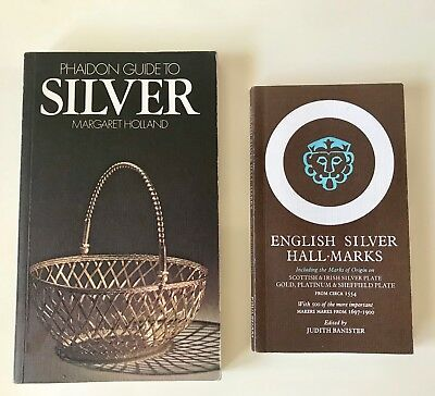 English Silver Hall Marks 1983 & Phaidon Guide to Silver 1978 Paperback Lot of 2