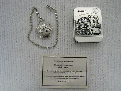 Lionel Trains Chrome 100th Anniversary Pocket Watch w/Case & COA-FAST SHIPPING!