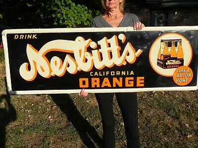 Vintage Nesbitt's 1940's Soda Sign With Carton and Bottles Super Rare