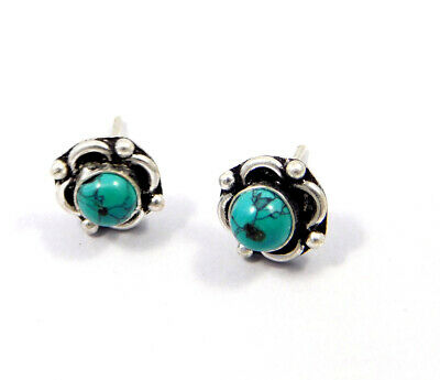 Turquoise .925 Silver Plated Handmade Stud Earring Jewelry JC8134