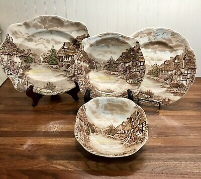 FOUR SERVING PIECES~Johnson Bros Olde English Countryside~STAFFORDSHIRE England