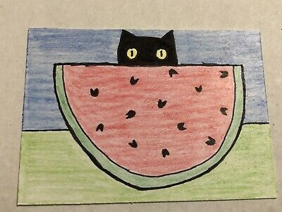 Original ACEO Art Card - Black Cat And Watermelon - Ink & Color Pencil On Paper