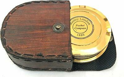 Brass Magnetic Compass with Leather Case, Antique Look nautical Collectibles