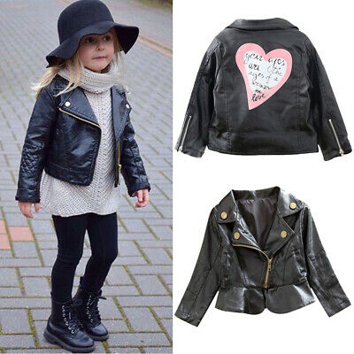 NEW Autumn Winter Girl Boy Kids Baby Outwear Leather Coat Short Jacket Clothes