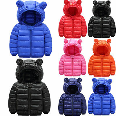 Toddler Kids Boys Girls Hooded Down Jacket Coat Winter Warm Outerwear Overcoat