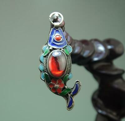 china old hand-made tibetan silver inlay cloisonn & zircon goldfish pendant a02