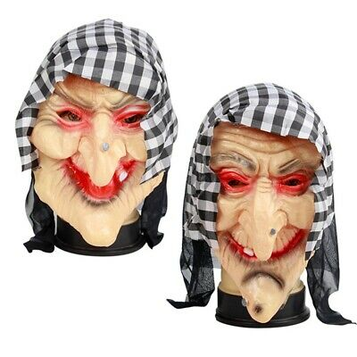 Creepy Old Witch Latex Mask with Headscarf and Hair