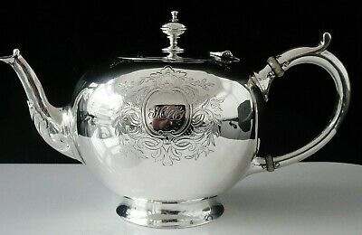 Antique Silver Bachelor Bullet Teapot, London 1857