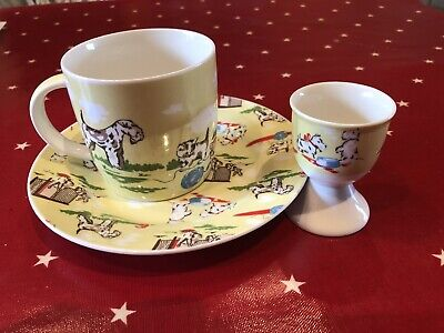 Cath Kidston Childrens China Trio Puppies & Kittens Plate Mug & Eggcup