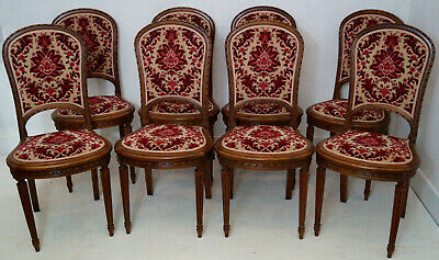 A Rare Set of 8 French Louis XVI Upholstered Dining Chairs - Reupholstery Option