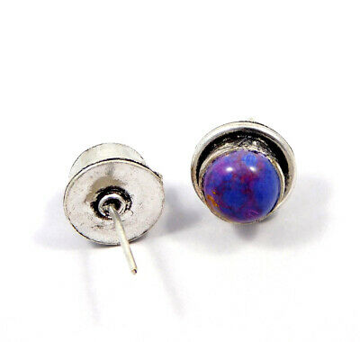 Purple Copper Turquoise .925 Silver Plated Handmade Stud Earring Jewelry JC8054