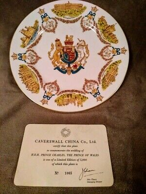 Vintage Commemorative Certified Limited Edit Royal Wedding Plate Charles & Diana