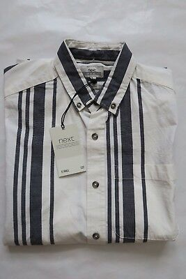 Next Men`s Shirts Relaxed Fit Striped Short Sleeve Size XSmall