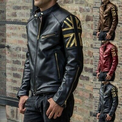Fashion Winter Leather Jacket Mens Zipper Coat Autumn Moto Jacket Plus Size