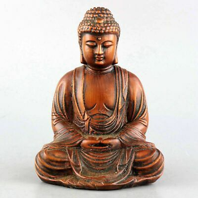 Collect China Old Boxwood Hand-Carved Buddhism Buddha Moral Auspicious Statue