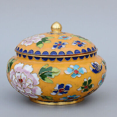 Collectable China Old Cloisonne Carve Bloomy Flower Delicate Noble Storage Jar