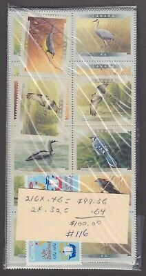 Canada Mint Postage Lot $100.00 Mnh Face For $70.00 See List #116