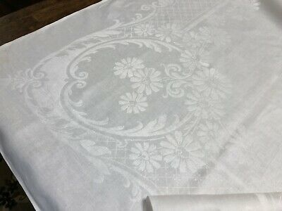 """Damask Linen Daisy Floral Square 71x72"""" White Tablecloth Vintage (RF1027-2)"""
