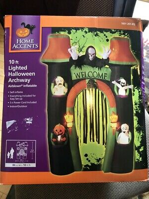 New Halloween Reaper 10'  Lighted Airblown Arch Inflatable Archway Blow Up