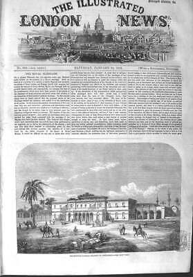 Original Old Antique Print 1858 Egyptian Railway Terminus Alexandria Egypt 19th
