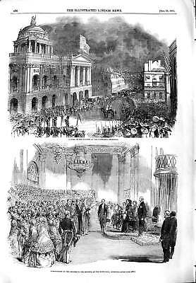 Original Old Antique Print 1851 Presentation Address Queen Town Hall Liverpool