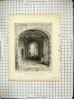 Antique Old Print 1829 Entrance Gateway St. Mary Hall Coventry Smith Redaway