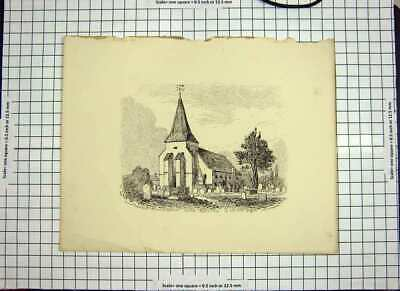 Original Old Antique Print 1851 Church South Bersted Graveyard Architecture