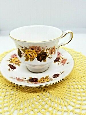 Queen Anne Fine Bone China Tea Cup & Saucer ~Autumn Colors~ Free Shipping ~ NR8
