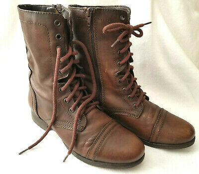 STEVE MADDEN Troopa Womens Dark Brown Leather Combat Boots Size 9.5 M EUC